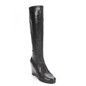 Prada Black Leather Zip Up Wedge Boots Size 36.5